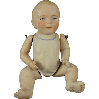 """5"""" All Bisque Baby with Jointed Limbs and Molded Shirt"""