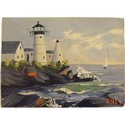 Miniature Painting of a Maine Lighthouse by Priscilla Lowry