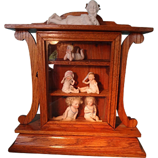 Wonderful Oak Display Cabinet from former Clock Case