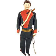 "REDUCED 7"" Doll House Soldier with Mustache and Sword"