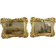 Pair of Bright Ormolu Framed Pictures for Doll House