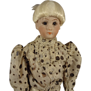 "7"" Simon and Halbig Doll House Lady with Glass Eyes in Silk Dress"