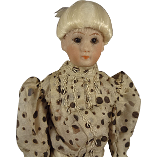 """7"""" Simon and Halbig Doll House Lady with Glass Eyes in Silk Dress"""