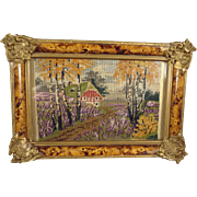 SALE Fine Miniature Petit Point Scene in Ornate Frame from France