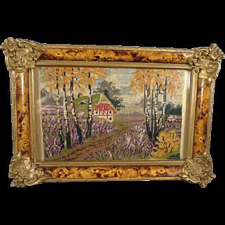 Fine Miniature Petit Point Scene in Ornate Frame from France
