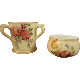 Miniature Royal Worcester Three Handle Cup and Bowl from England
