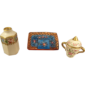 Group of French Miniature Porcelain Items for Doll House