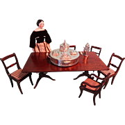 SALE Outstanding Miniature Double Pedestal Dining Table and Six Chairs for Fashion Display or Large Scale Doll House