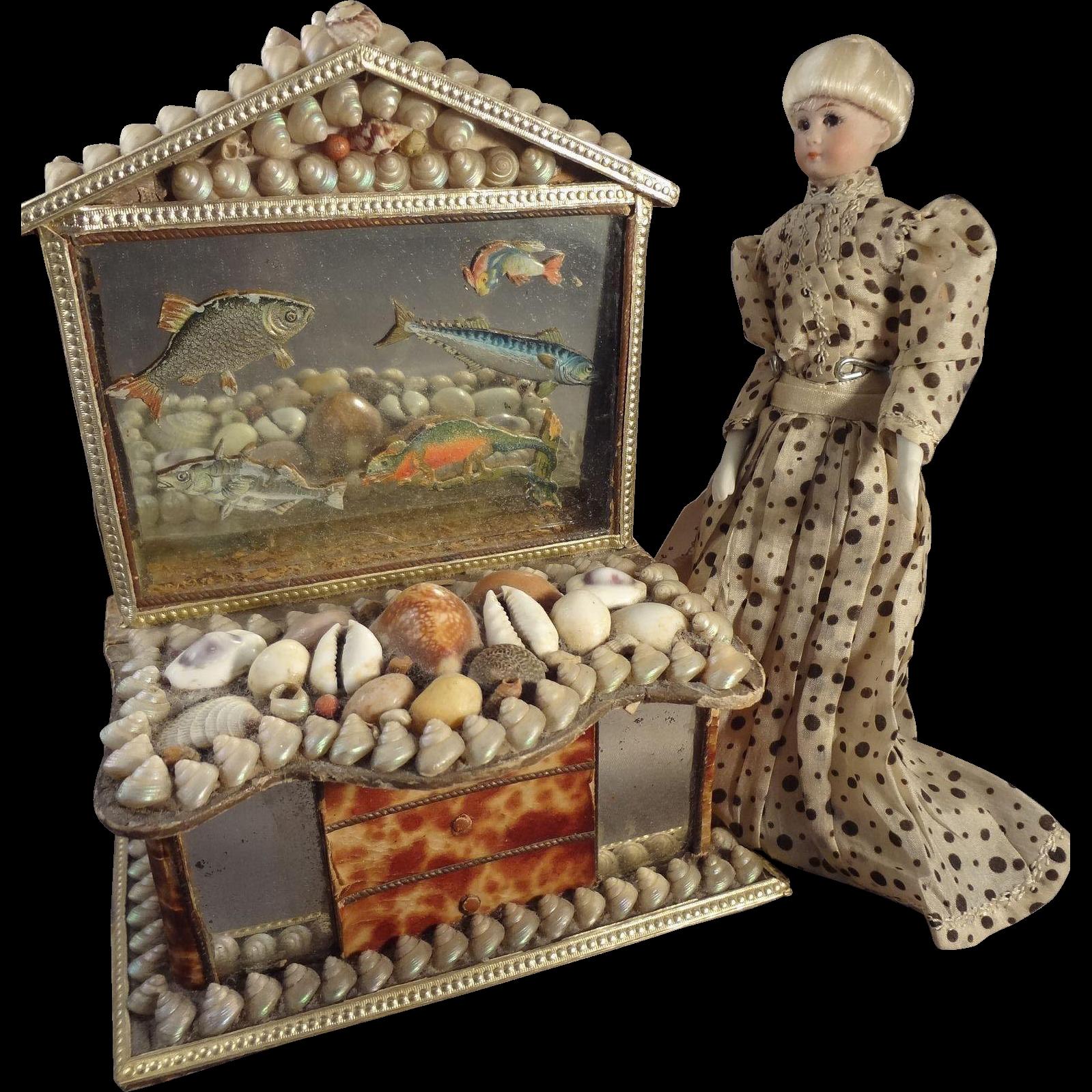 Shell Dresser Box with Mirror as Miniature Bureau