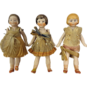 Three All Bisque Flapper Dolls in Original Costume