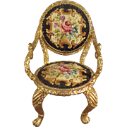 Doll House Chair with Petit Point Back and Seat