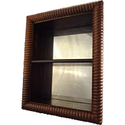 Hanging Wood Display with Mirrored Back and Two Shelves