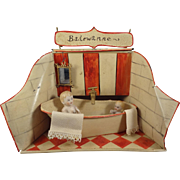 German Tin Bathroom with Bath Tub Faucet and Dolls in Doll House Scale