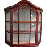 Hanging Wood Curio Cabinet with Two Shelves