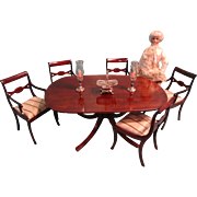 Magnificent Dining Room Table and Chairs in Miniature for Fashion Dolls
