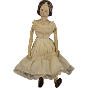 Early Papier Mache Doll with Unusual Deeply Carved Hair 12""