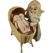 Fabulous Wicker Cradle and Bisque Twins