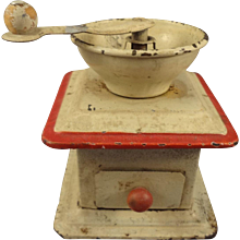 German Tin Coffee Grinder in Miniature for German Store or Shop