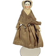Tiny China Head Doll with Bonnet 3 1/4""