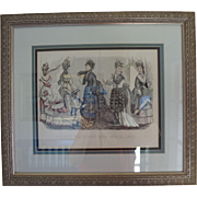 Framed Godey Fashion Print April 1875