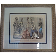 Framed Godey Fashion Print October 1875