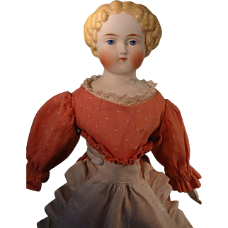 German Bisque Parian Doll with Blonde Sculpted Hair