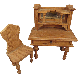 German Oak Doll House Desk and Chair