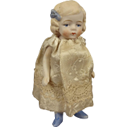 "Sweet 3 1/2"" All Bisque Doll with Blue Bow and Shoes"