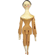 """3"""" Miniature Antique Peg Wooden Articulated All Wood Doll"""