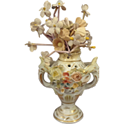 Antique Miniature Sitzendorf Porcelain Urn Vase
