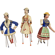 Group of Three Bristle Dolls Wooden Dancing Piano Dolls