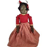 Cloth Topsy Turvy Bruckner Doll in Red Gingham Dress