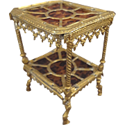 Gilt Metal Table with Faux Tortoise Shell inserts for Doll House