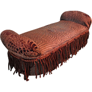 Fabulous Miniature Doll's Fainting Couch Upholstered Bench