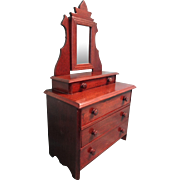 Antique Walnut Doll Dresser with Mirror