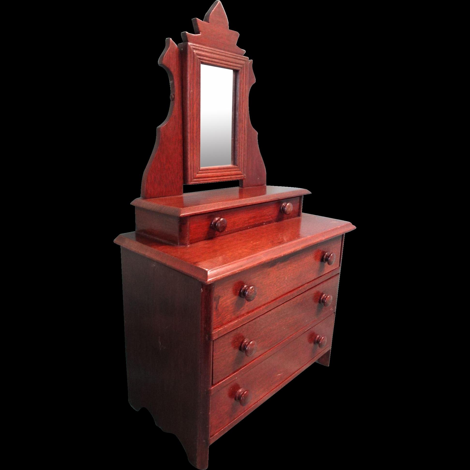 Antique Walnut Doll Dresser with Mirror
