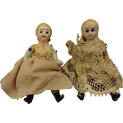 Pair of Tiny All Bisque Dolls with Jointed Limbs