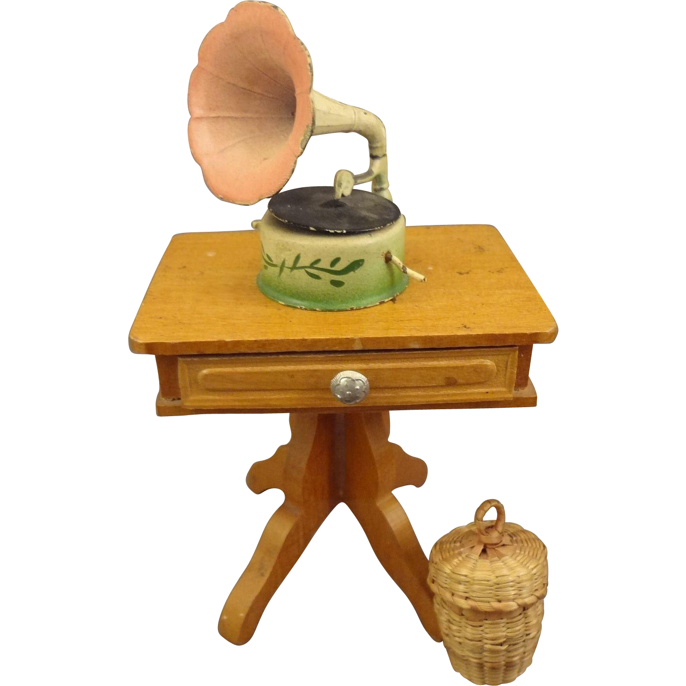 Schneegas Sewing Table with Scissors and Thread in Covered Basket