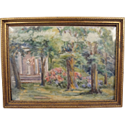 Miniature Painting on Porcelain of Garden Scene Framed