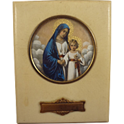 French Religious Picture of Mary and Jesus Miniature