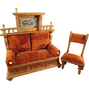 SALE German Oak Doll House Sofa and Chair