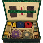 Child's Vintage Sewing Box with Contents