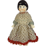 Small Porcelain Frozen Charlotte Dressed in Beaded Gown