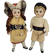 "Pair of 3 1/2"" All Bisque Boy and Girl with Glass Eyes Original"