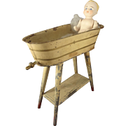 German Tin Painted Bath Tub on Stand for Small Dolls