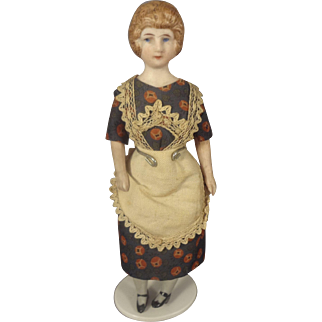"6"" Bisque Doll House Maid with Unusual Hair Bun"