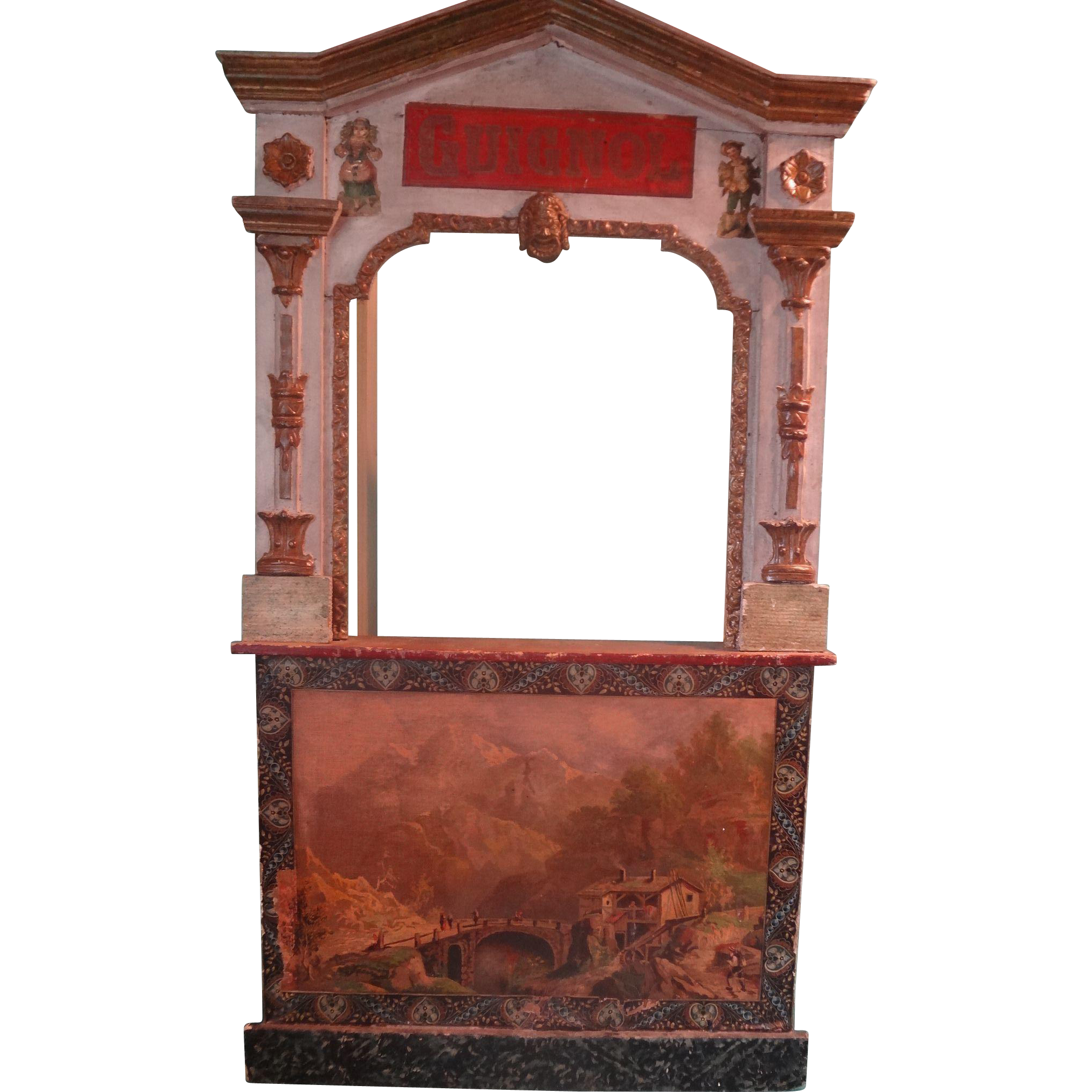 French Wooden Guignol Theatre with Six Hand Puppets LAYAWAY Available