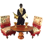 "Outstanding 6 1/2""  Black Doll House Butler with Champagne"