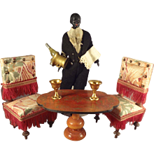 """Outstanding 6 1/2""""  Black Doll House Butler with Champagne"""