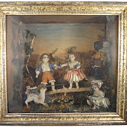 Magnificent Antique Diorama of Children Playing with Provenance